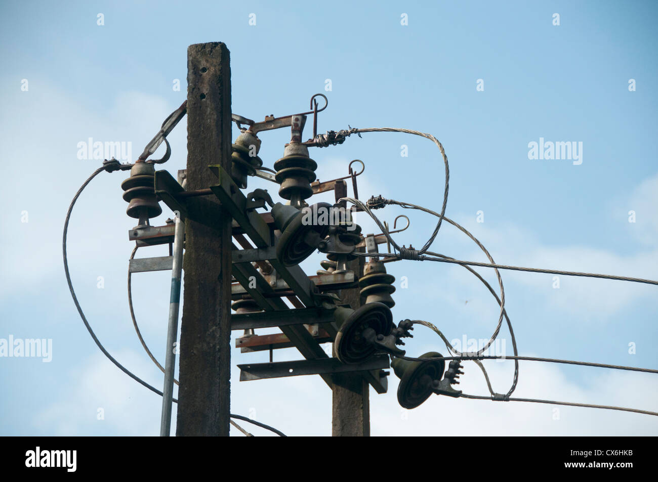Wires connected in electric post in Kerala, India Stock ... on
