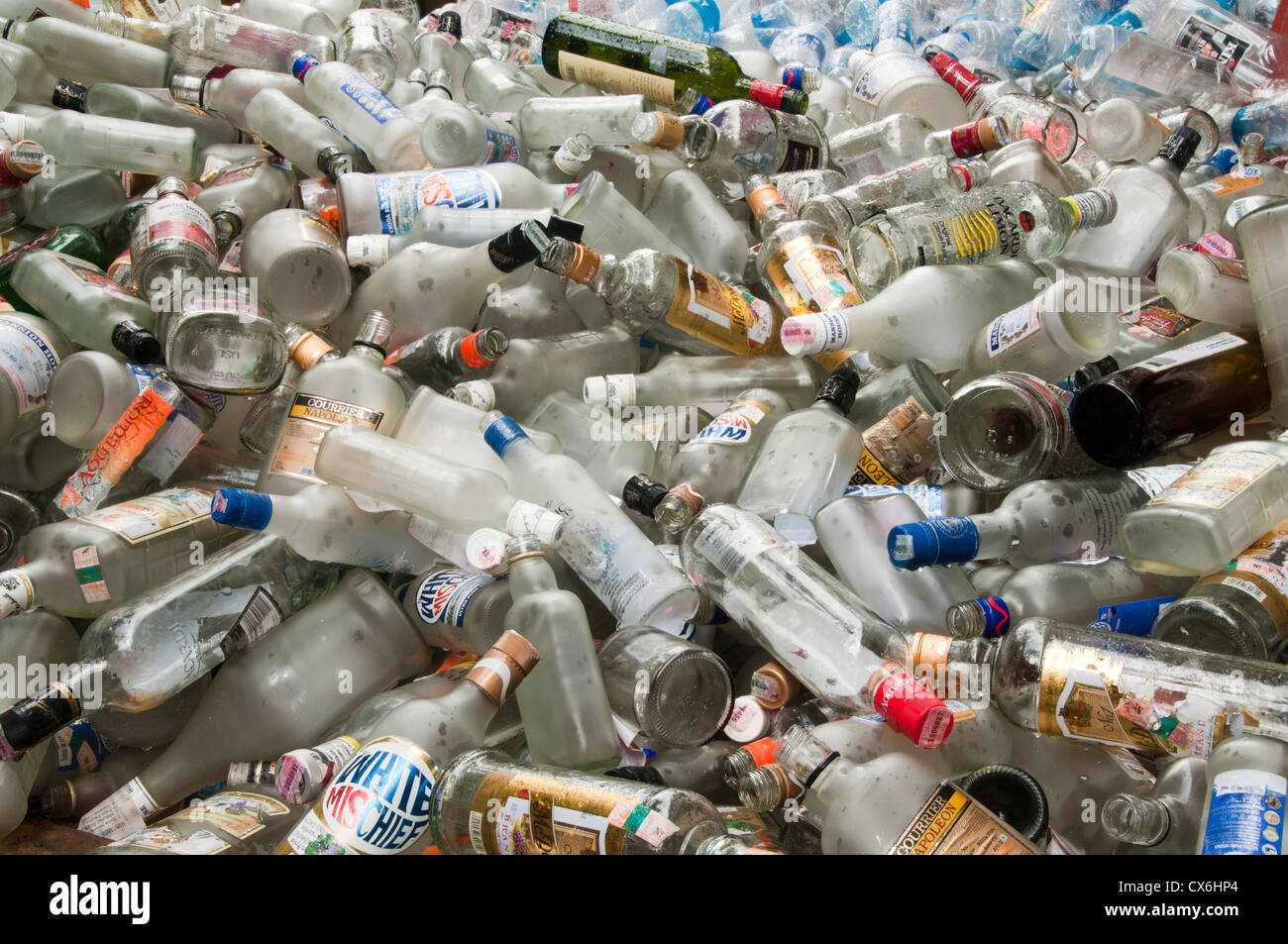 piles of glass bottles for recycling - Stock Image