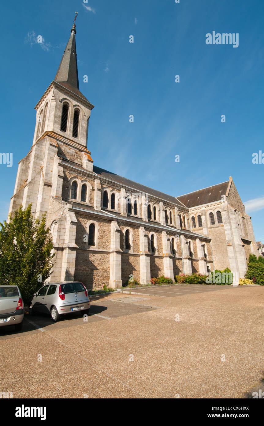 The village church of Saint-Pierre-des-Nids, Mayene, Pays de la Loire, France. - Stock Image