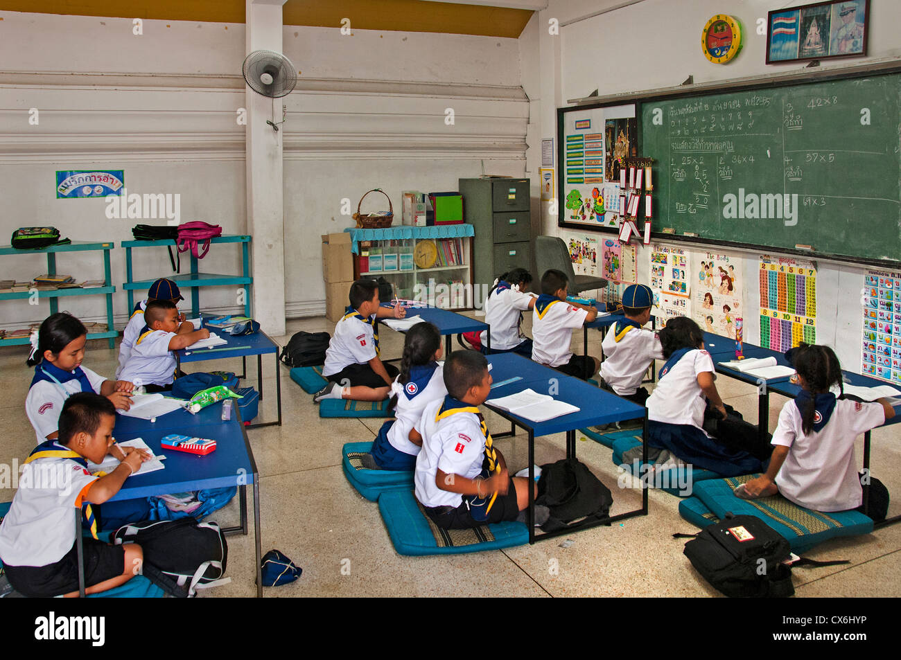 Bangkok Thailand primary grammar school girl girls boy boys - Stock Image
