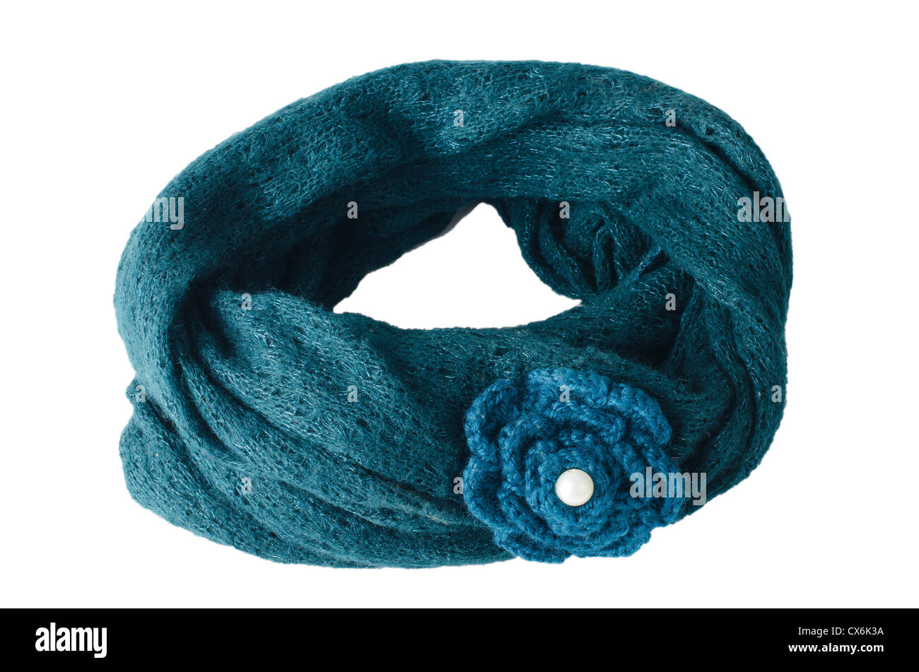 c16aaee4a3805 Warm scarf in blue isolated on white background Stock Photo ...