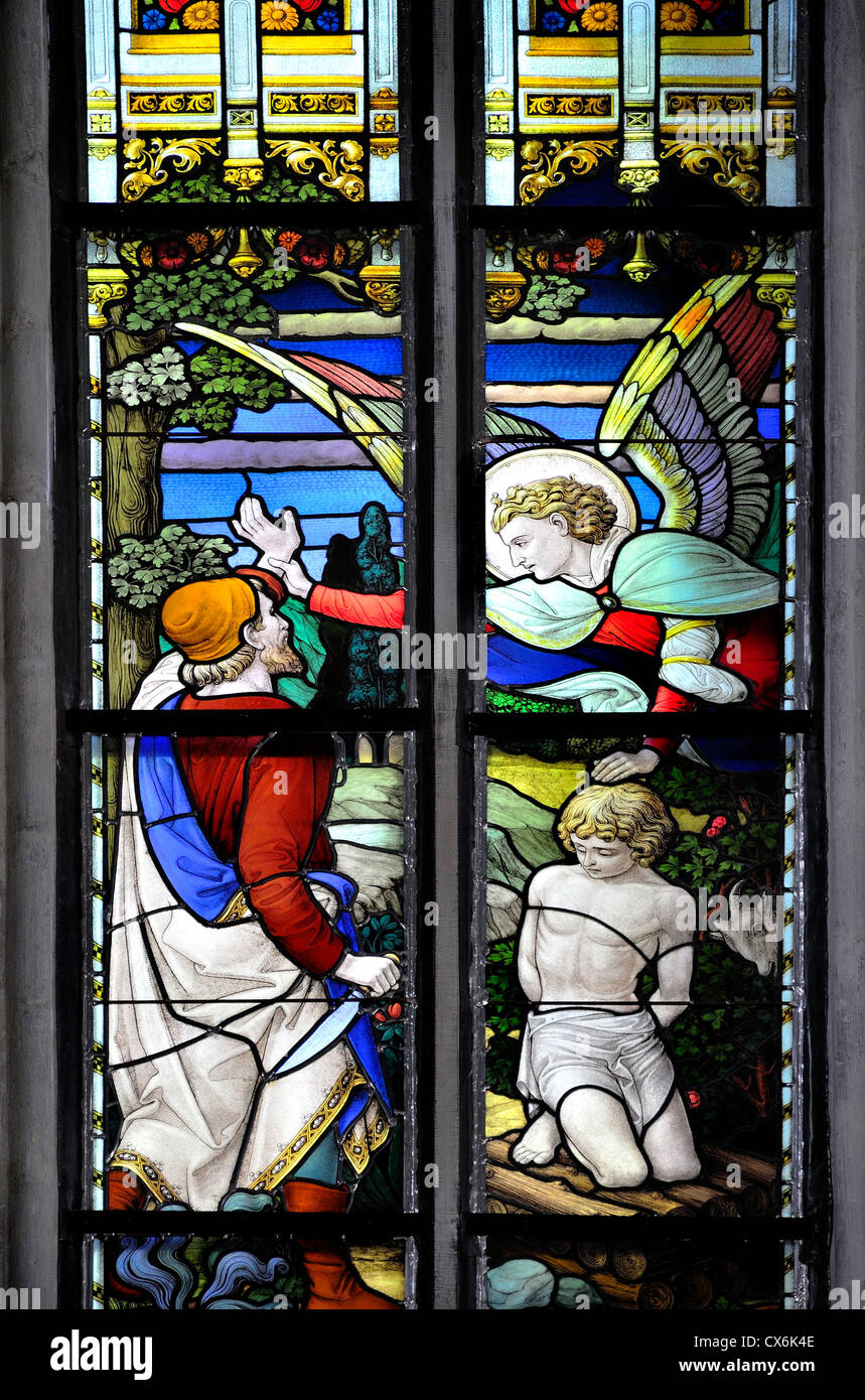 Mechelen (Malines), Belgium. Sint Romboutskathedraal / cathedral. Stained Glass Window: Abraham about to kill his - Stock Image