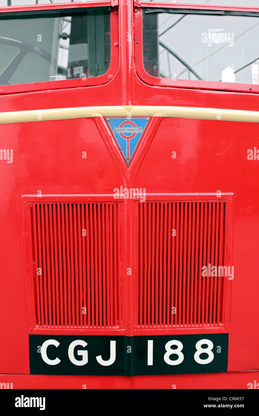 London Transport red bus detail. England UK - Stock Image