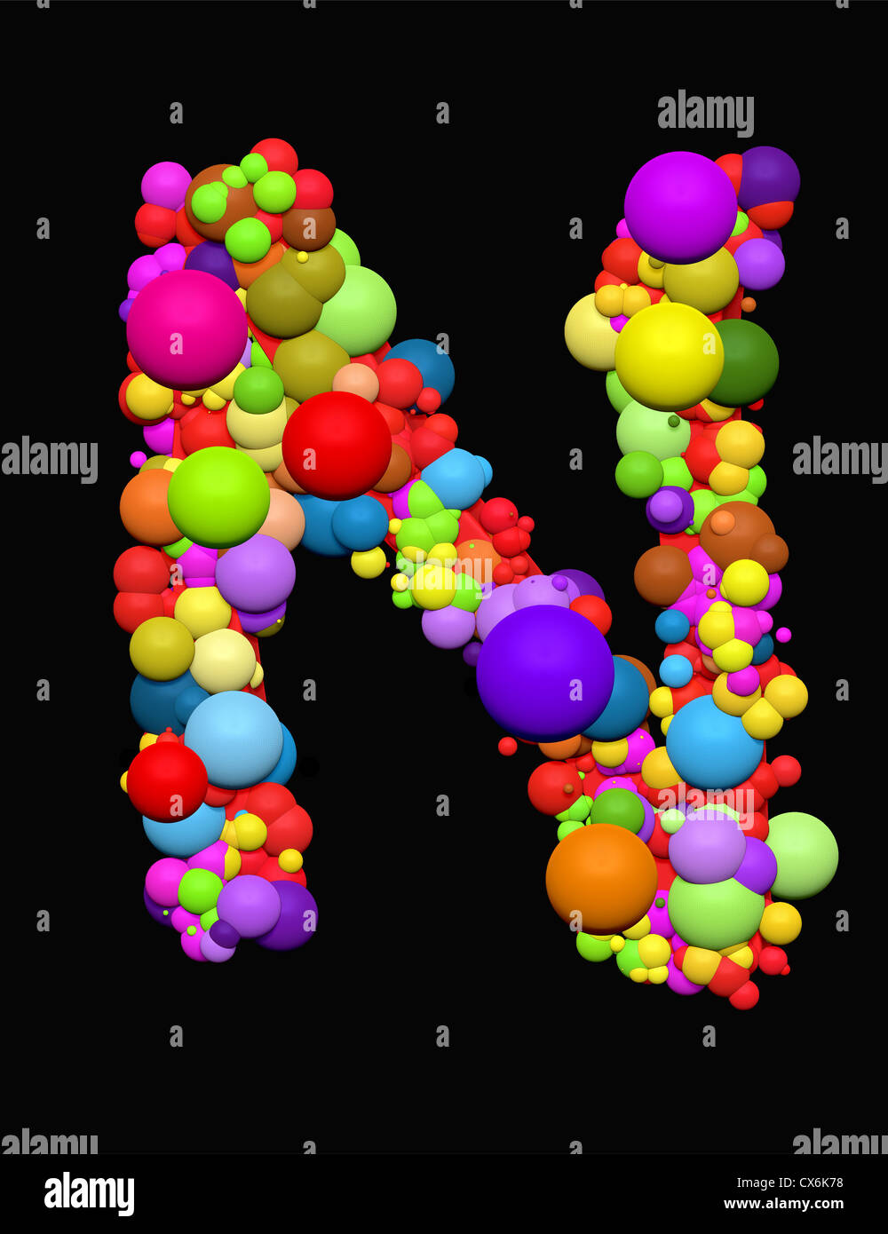 alphabet letter sign abc symbol 3d3d graphics illustration n sign n balls bubbles letter n