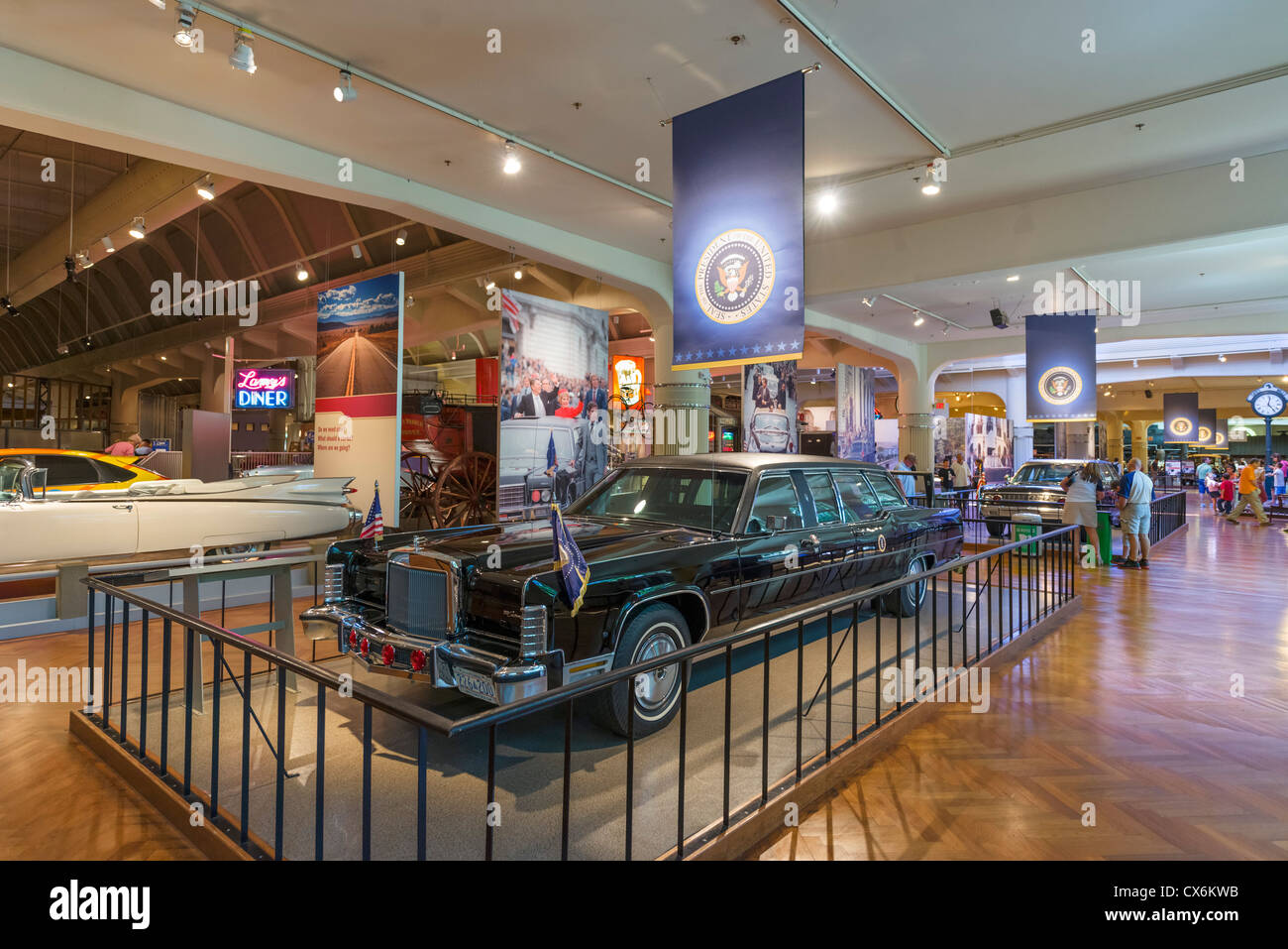 President Ronald Reagan's presidential limousine, The Henry Ford Museum, Dearborn, Detroit, Michigan, USA - Stock Image