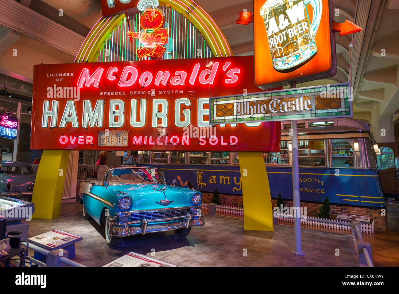 A 1956 Chevrolet Bel Air convertible in front of a 1960 McDonald's sign, The Henry Ford Museum, Dearborn, Detroit, - Stock Image