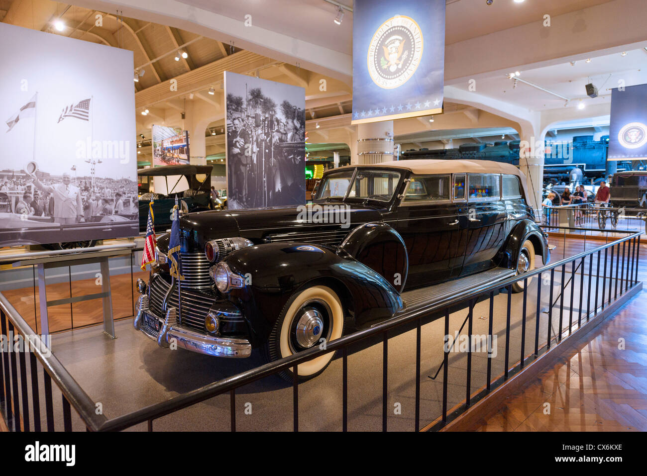 President Franklin D Roosevelt's presidential limousine 'Sunshine Special', Henry Ford Museum, Dearborn, - Stock Image