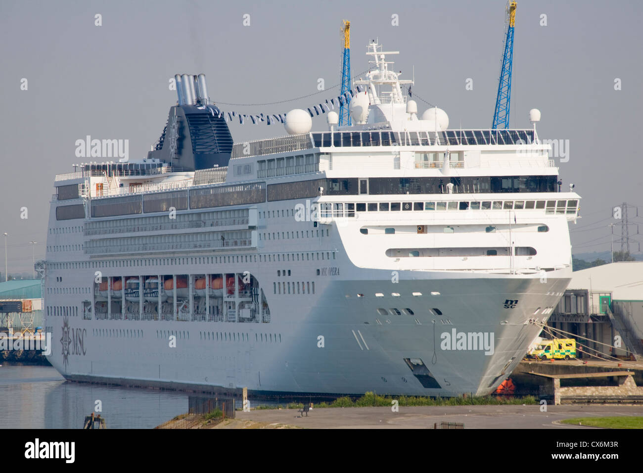 MSC Opera cruise ship docked in Southampton - Stock Image