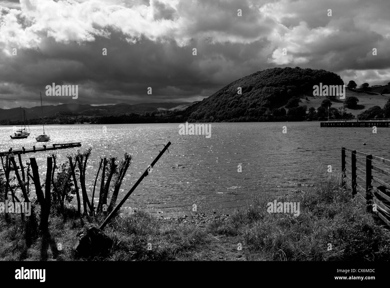 Black white photograph of lake windermere lake district cumbria england uk