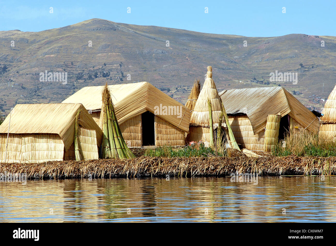 Reed Typical Houses Uros Island Titicaca Lake Puno
