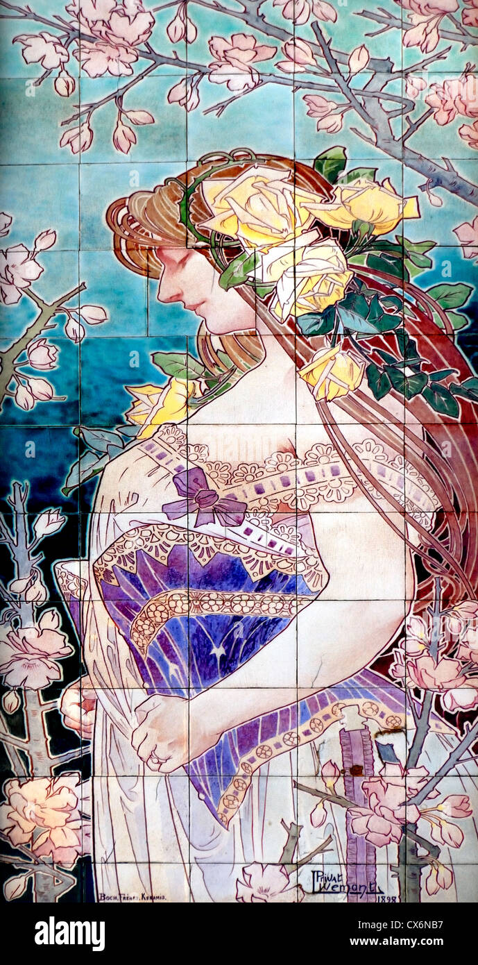 Brussels belgium art nouveau detail ceramic tiles by privat stock art nouveau detail ceramic tiles by privat livemont on facade of anciennne grande maison de blanc dailygadgetfo Choice Image