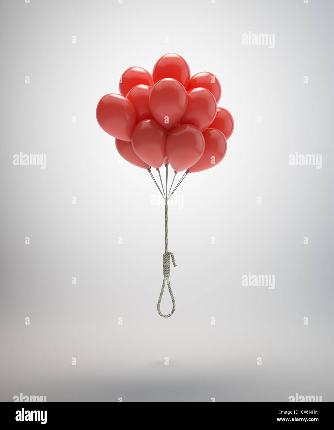 Gallows suspended by a bunch of red balloons Stock Photo