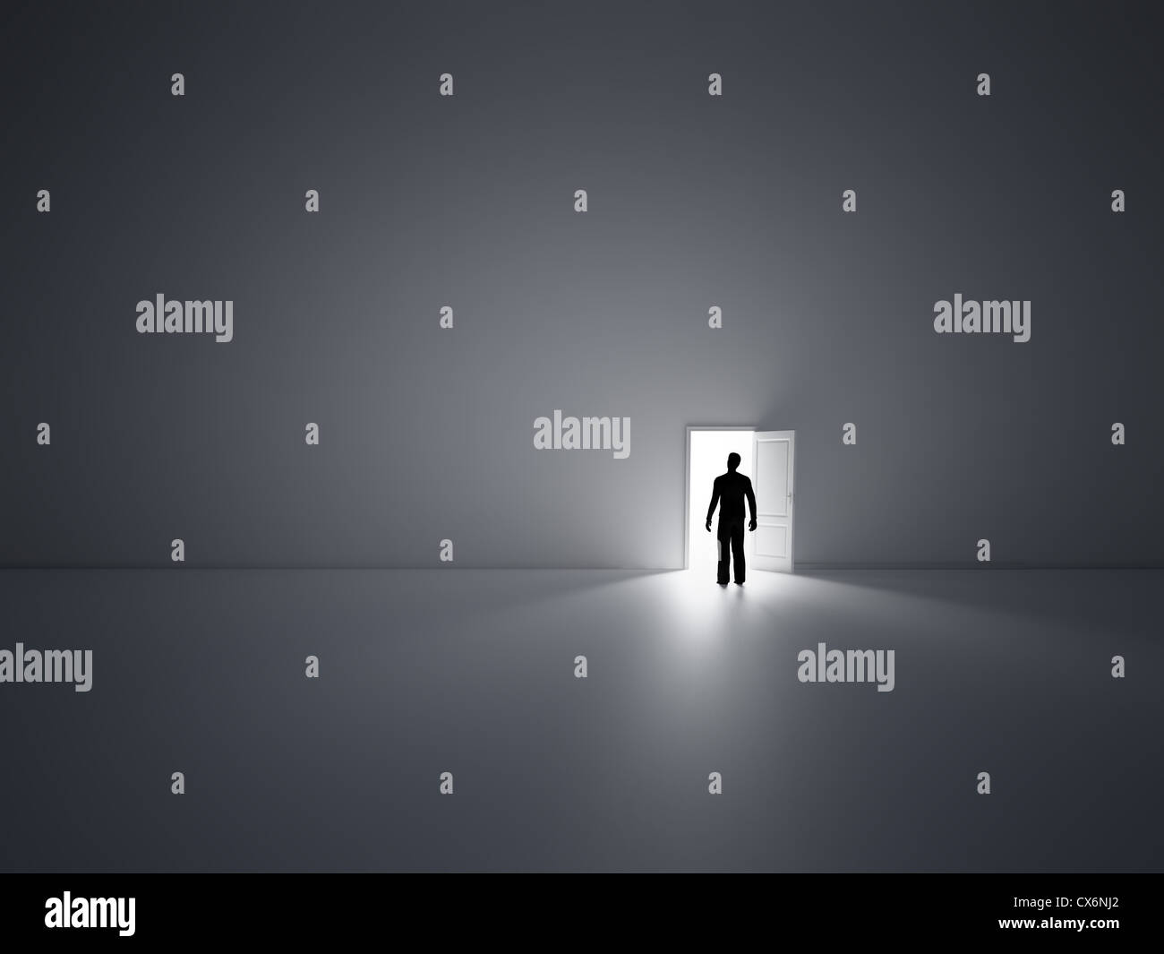 Tiny person walking into open doors - Stock Image