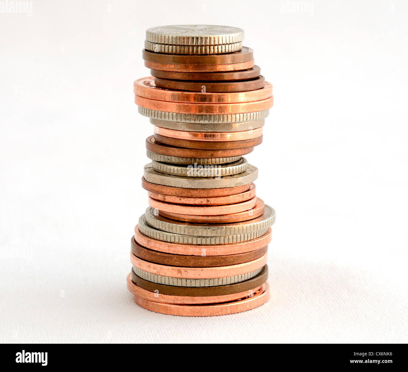 a stack of british coins - Stock Image