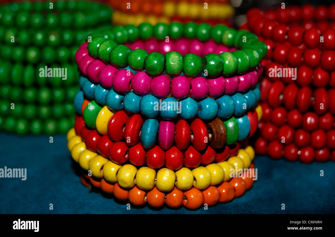 A Set of Variety model Bangles Ornaments with different color germs furnished for sales in Shops at India - Stock Image