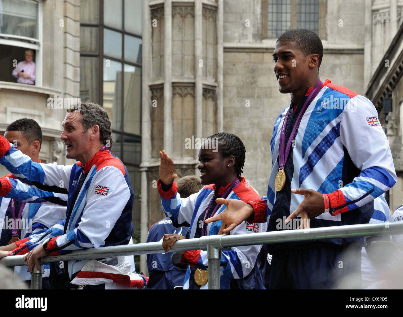 Lee Pullen (coach), Nicola Adams, Anthony Joshua. Boxing.  The London 2012 Medal Winners Parade. - Stock Image