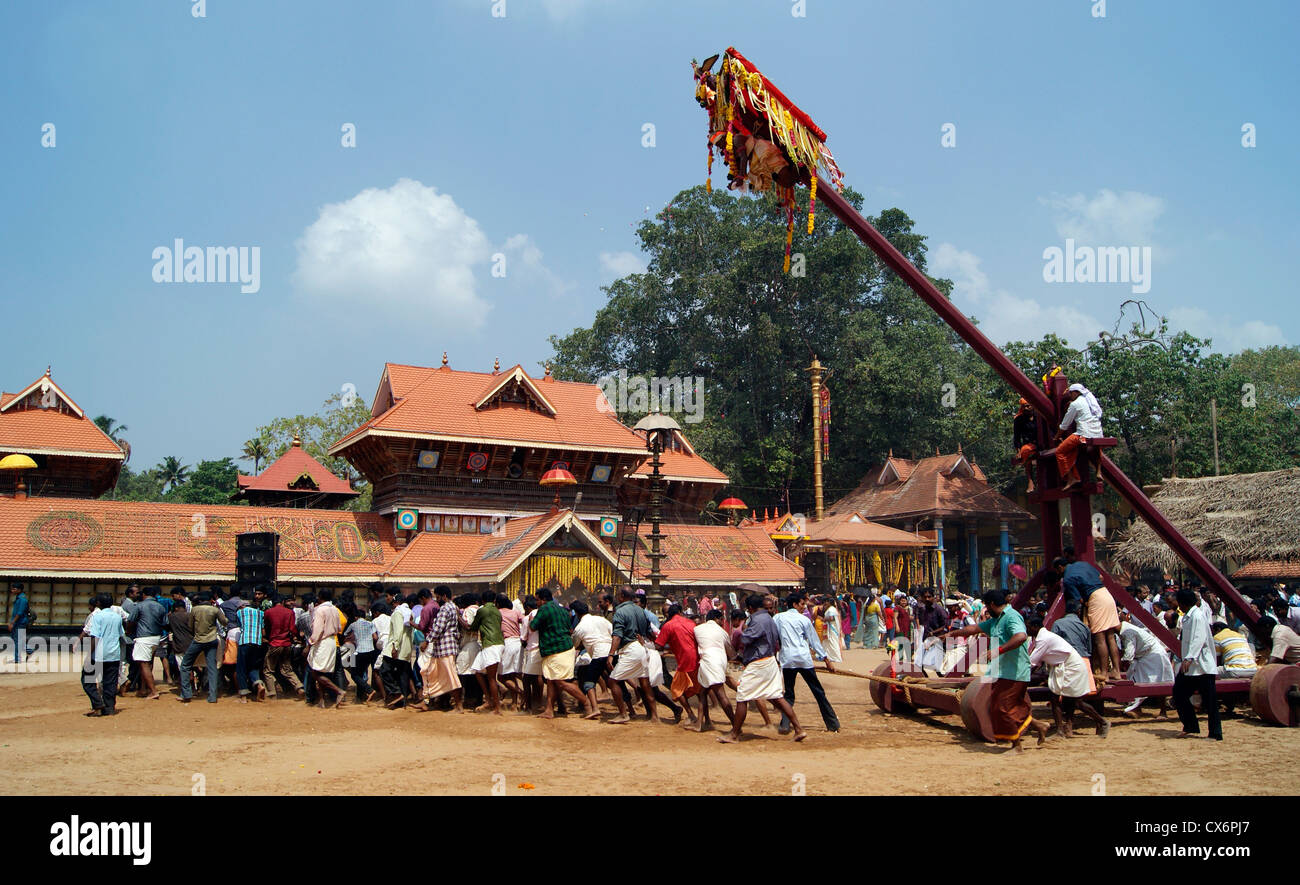 Garudan Thookkam Temples ritual (Kite Swinging or Eagle Hanging) in Chirayinkeezhu Sri Sarkara Devi Temple at Kerala Stock Photo
