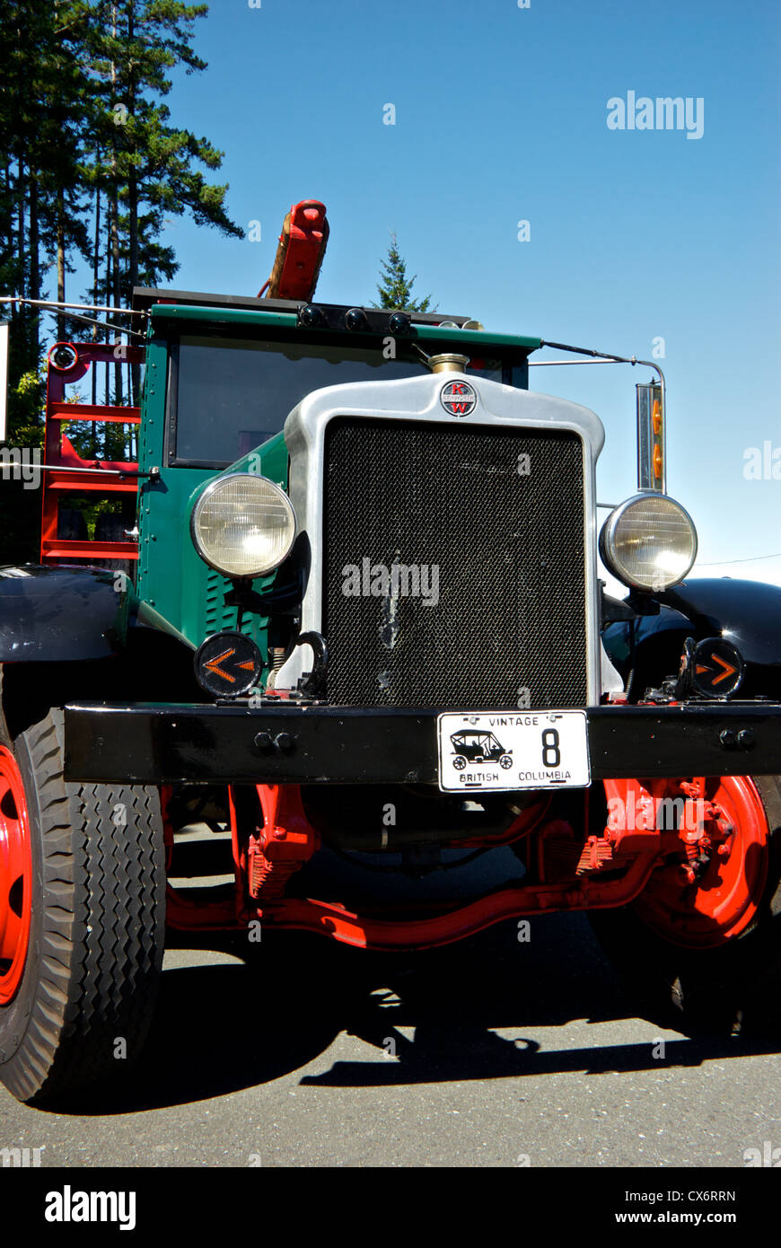 Restored vintage antique 1930 Kenworth logging truck on display Museum at Campbell River BC Canada - Stock Image