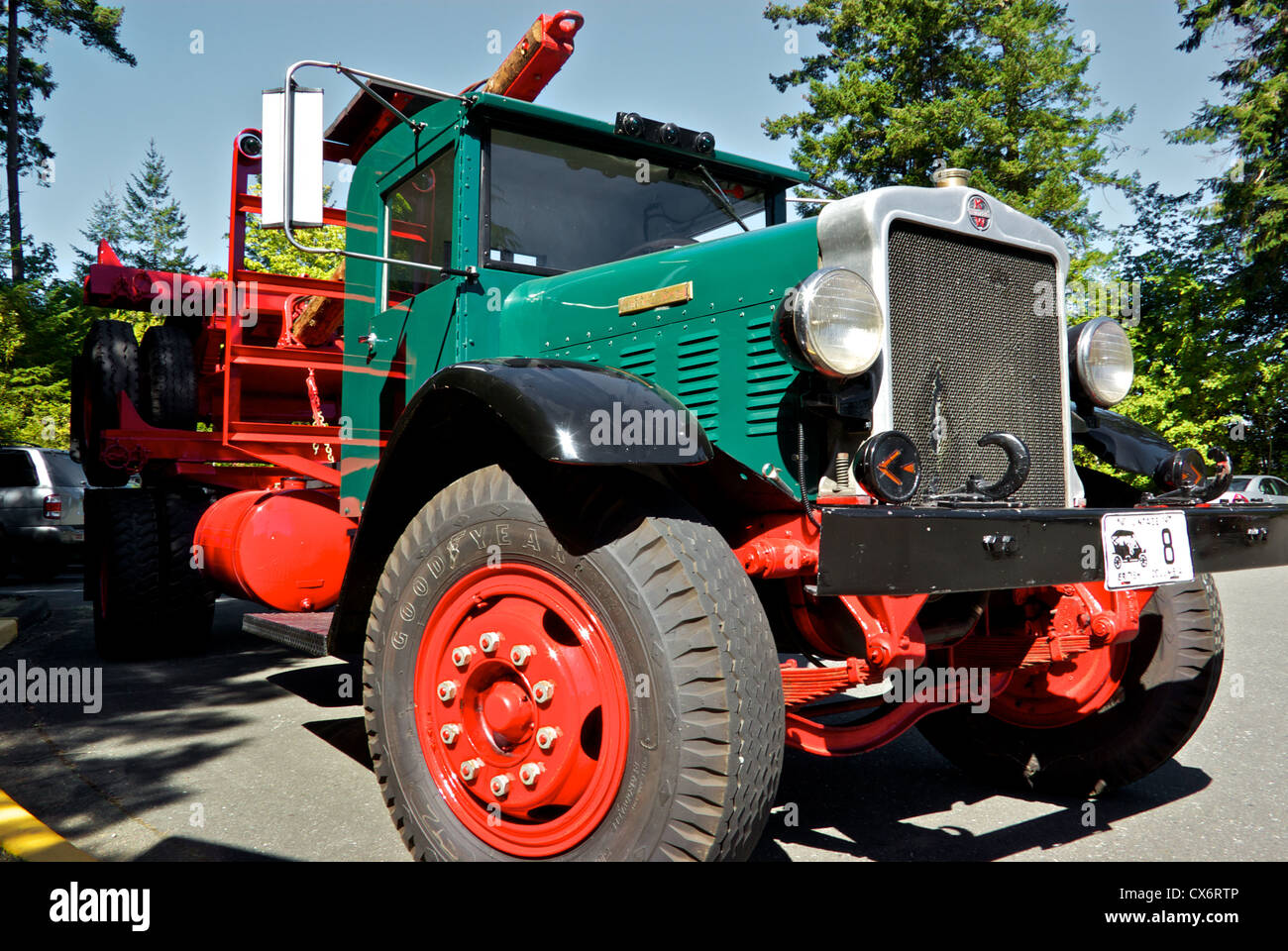 Restored vintage antique Kenworth logging truck on display Museum at Campbell River BC Canada - Stock Image