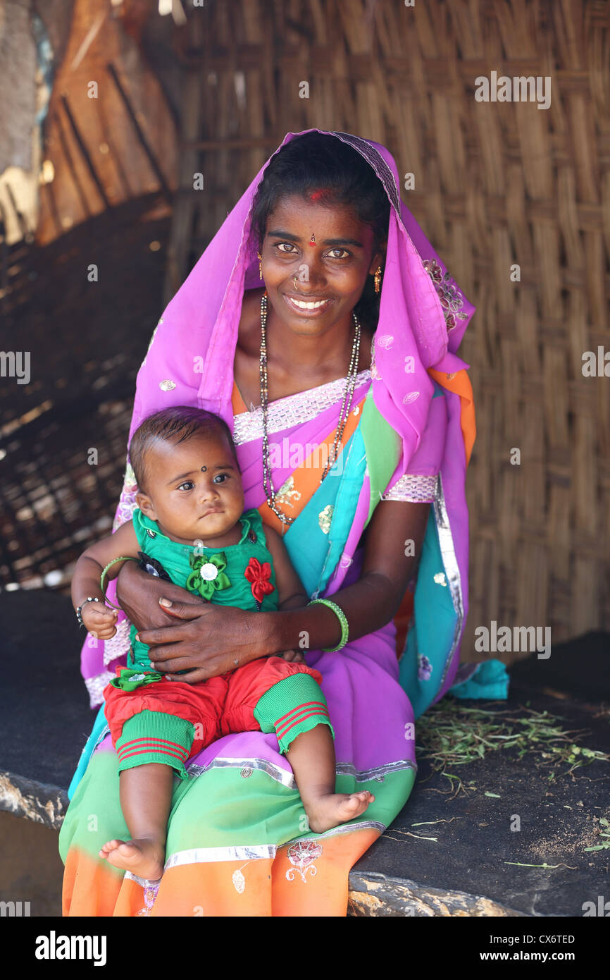 Indian Mother With Child Andhra Pradesh South India