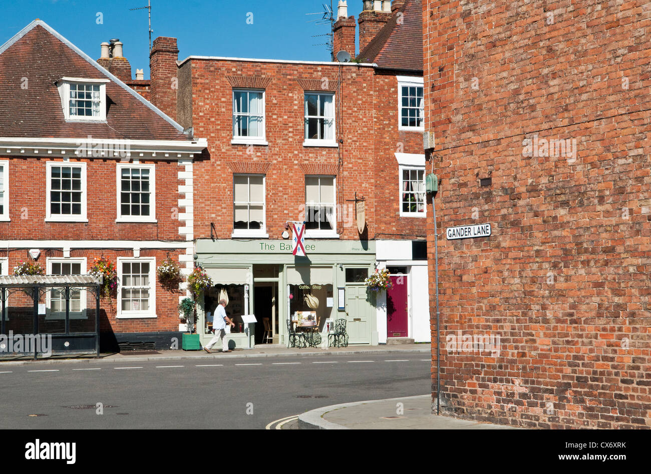Street Scene with red brick buildings in Tewkesbury Gloucestershire named Theocsbury after Theoc, a Saxon who built - Stock Image