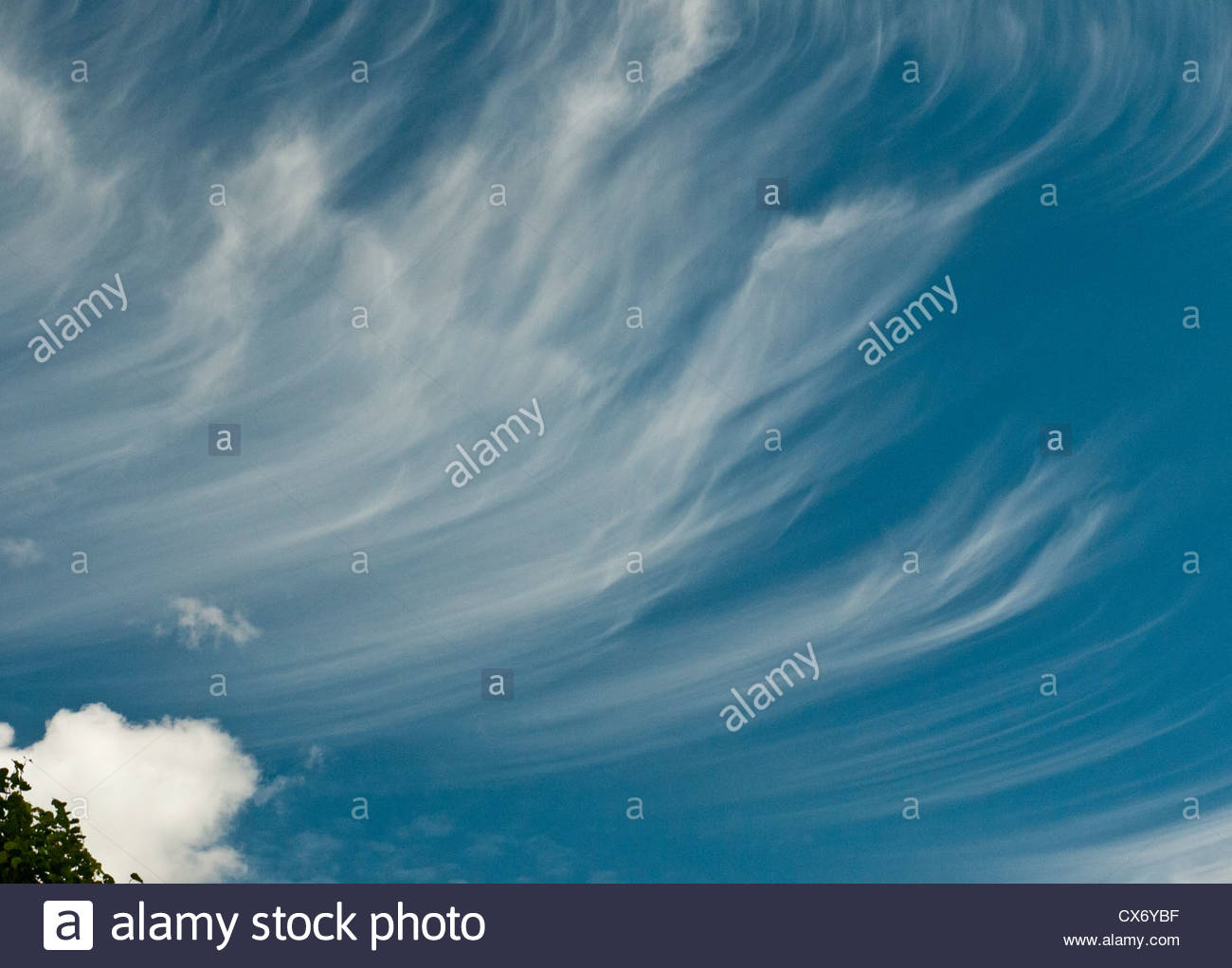 Cirrus clouds on Blue Sky - Stock Image