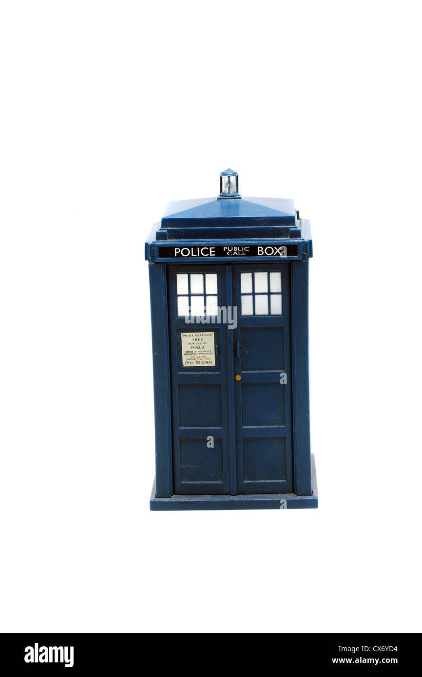 Tardis Money box, for the dedicated young Whovian 17cms tall, 9 cms across the base. battery operated light and - Stock Image