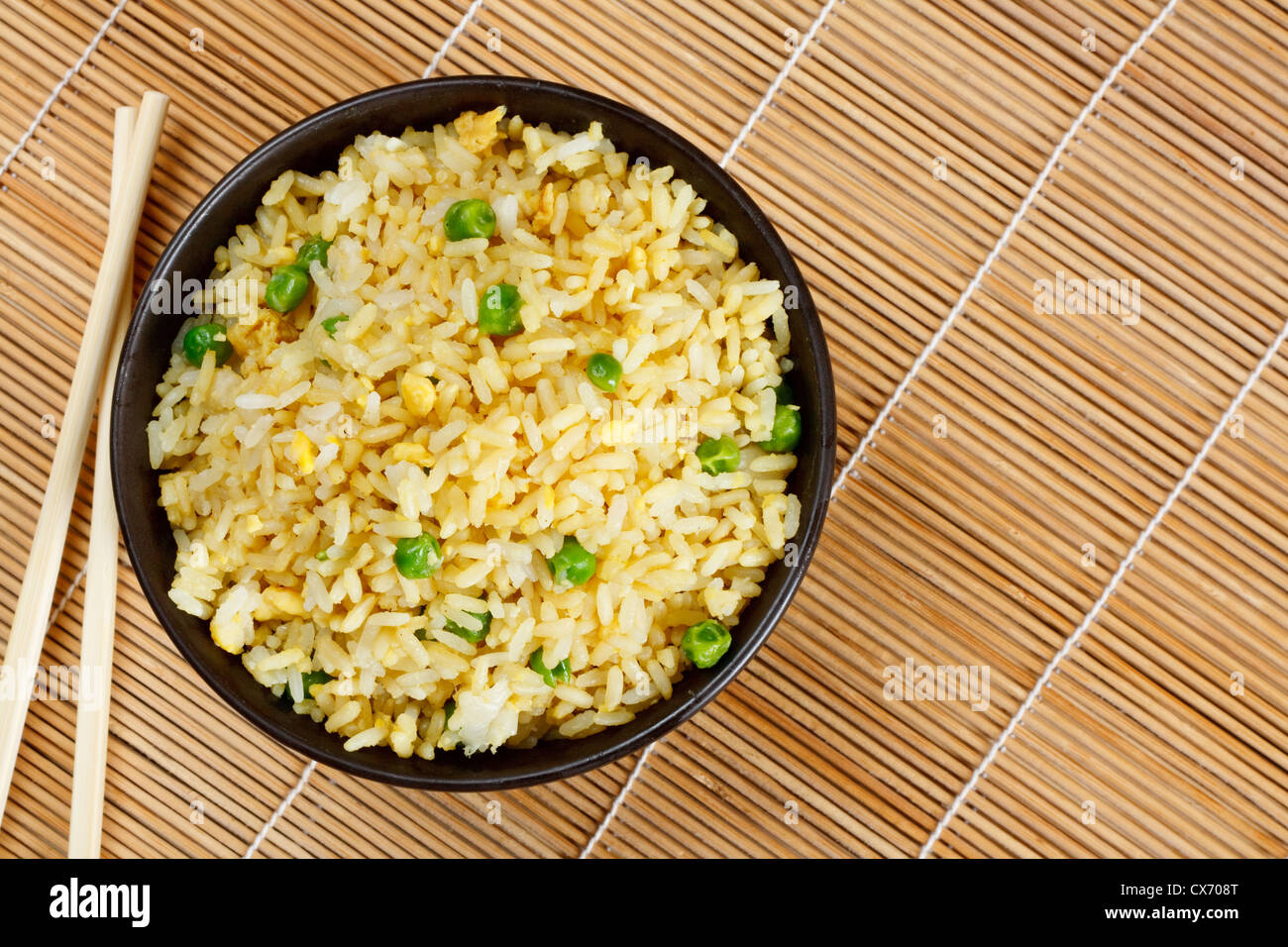 Bowl of egg fried rice an excellent side order with chinese food - Stock Image