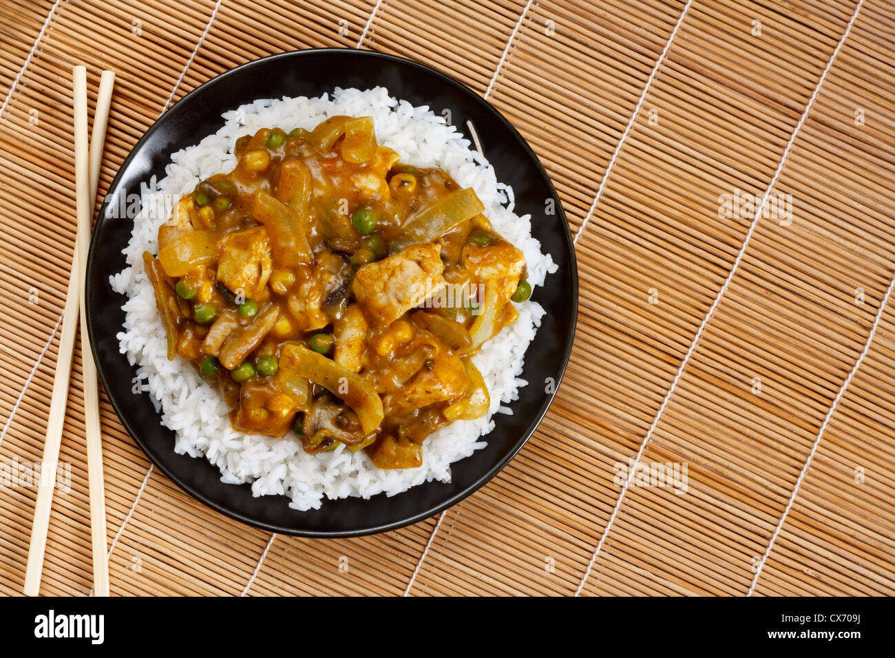 Chicken Curry a popular asian dish available at chinese take aways - Stock Image