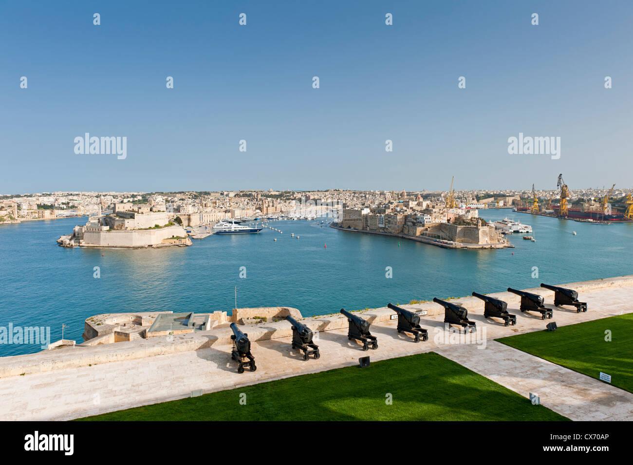 Saluting Battery in Valletta, Malta - Stock Image