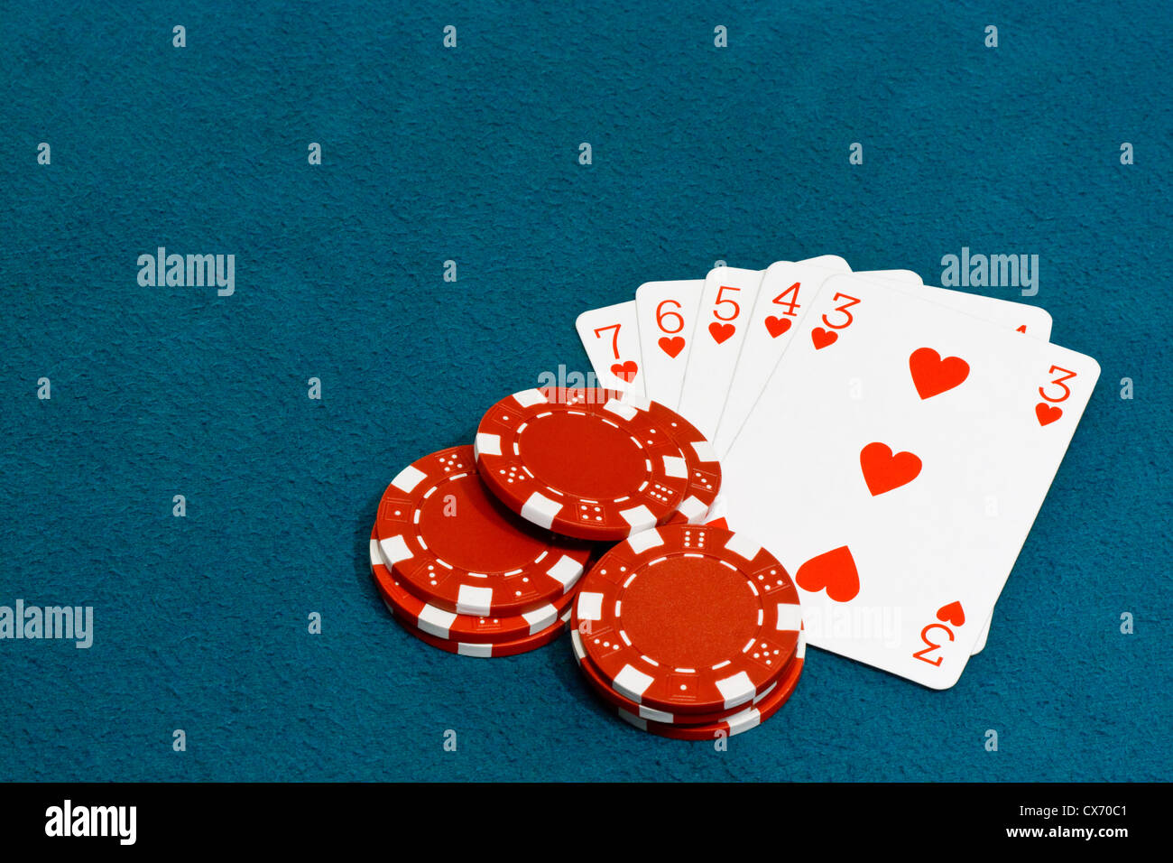 A straight flush a Winning hand in the card game of Poker - Stock Image