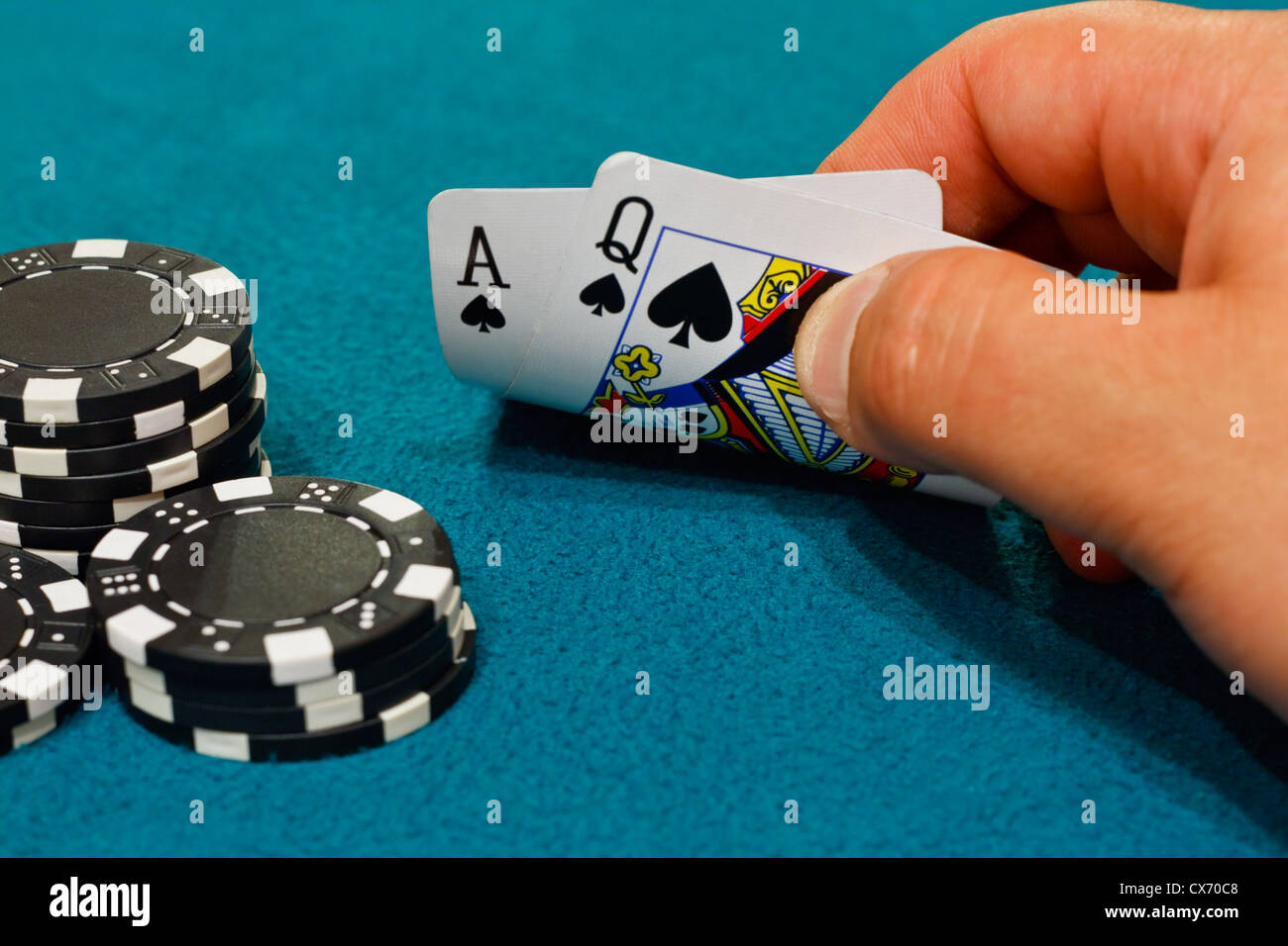 A winning hand of twenty one in the game of Blackjack or pontoon - Stock Image