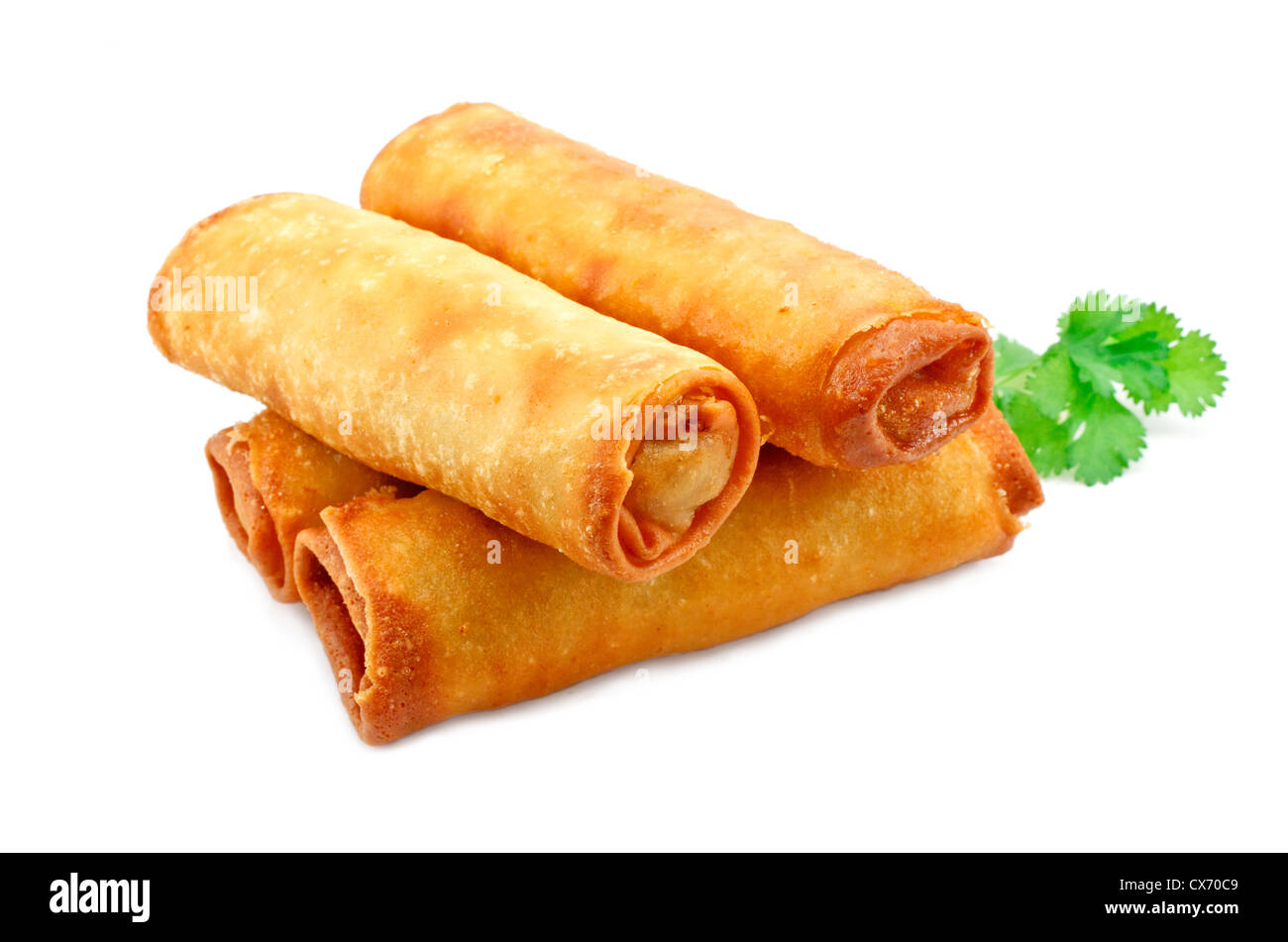 Chinese Vegetable spring rolls a great side order at chinese restaurants - Stock Image