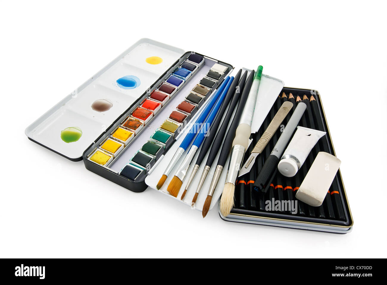 Arstists watercolor paint brushes, paints and equipment - Stock Image