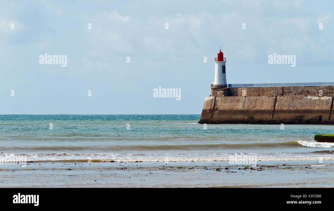 View of lighthouse and Atlantic ocean, Les Sables-d'Olonne, Vendee, Pays de la Loire, France, Europe. - Stock Image
