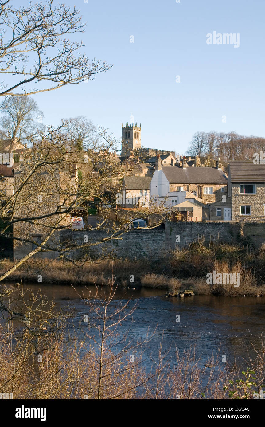 Barnard Castle is an historic town in Teesdale County Durham uk RIVER TEES - Stock Image