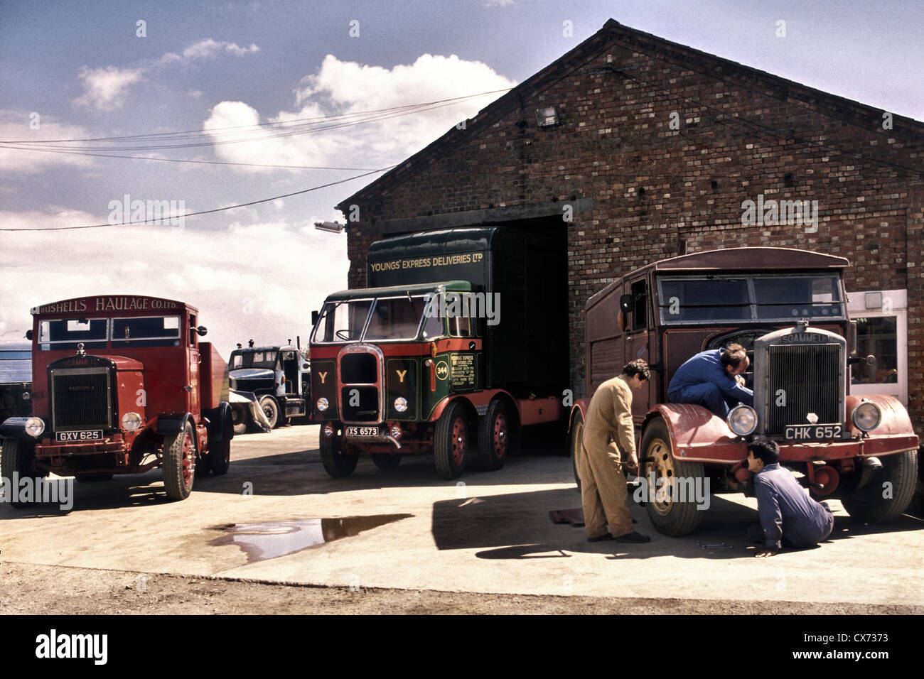 Scammell lorry workshop. - Stock Image