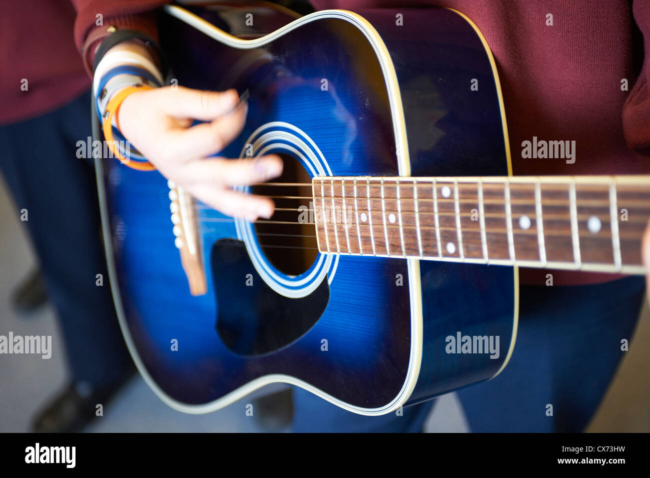 playing guitar - Stock Image