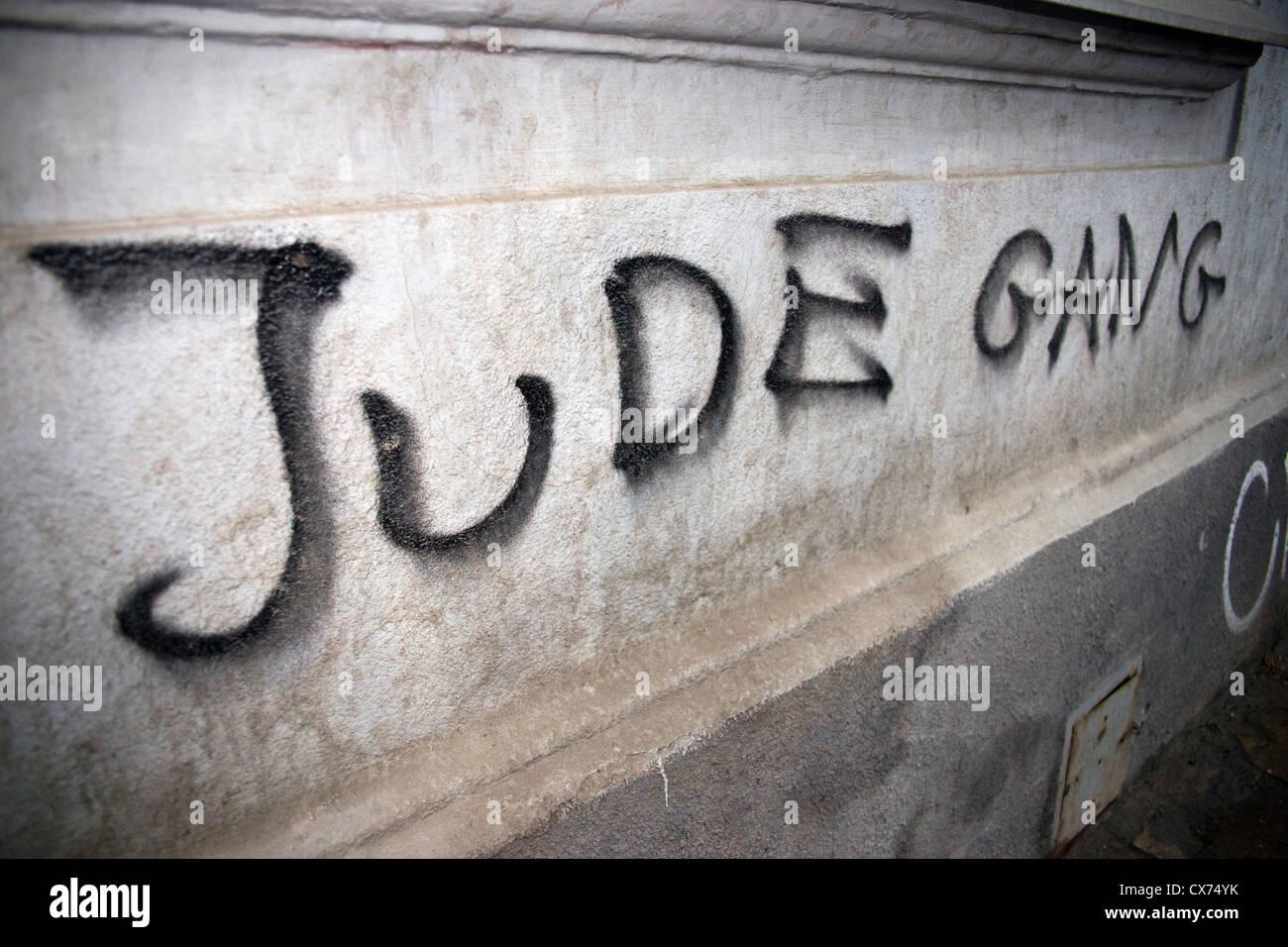 graffiti caption of Jude Gang in Krakow Poland - Stock Image