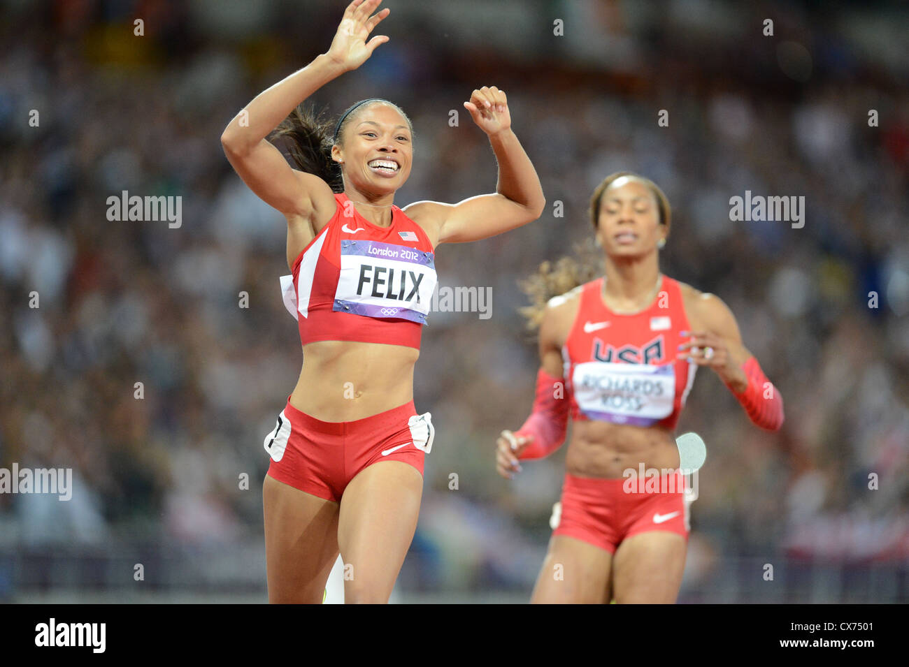 USA's Allyson Felix wins gold in Women's 200m at the Olympic Stadium, August 8th, 2012 - Stock Image