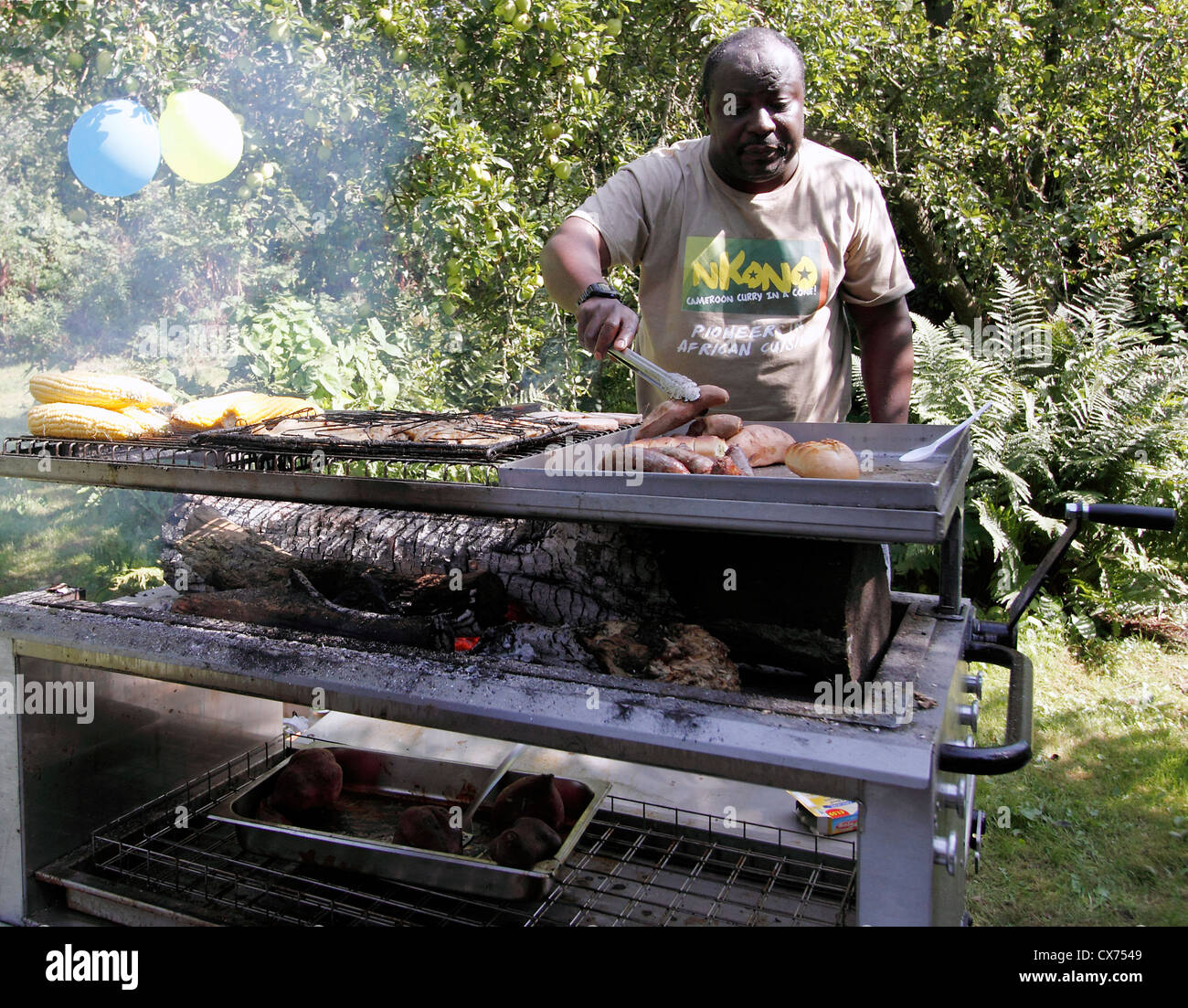 Wood fired Bar b Que St Ann's Allotments Heritage Open Day 2012, Sunday 9th September 11am-4pm. family Workshops - Stock Image