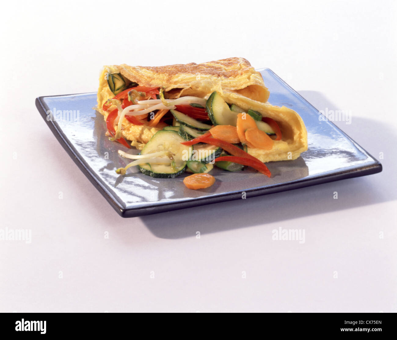 Omelette with sprouts (chinese style) Stock Photo