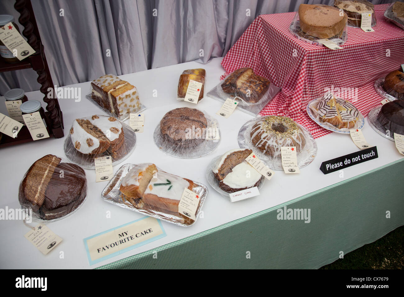 My Favourite Cake category in the Women's Institute marquee at the 2012 Westmorland County Show, near Kendal, - Stock Image