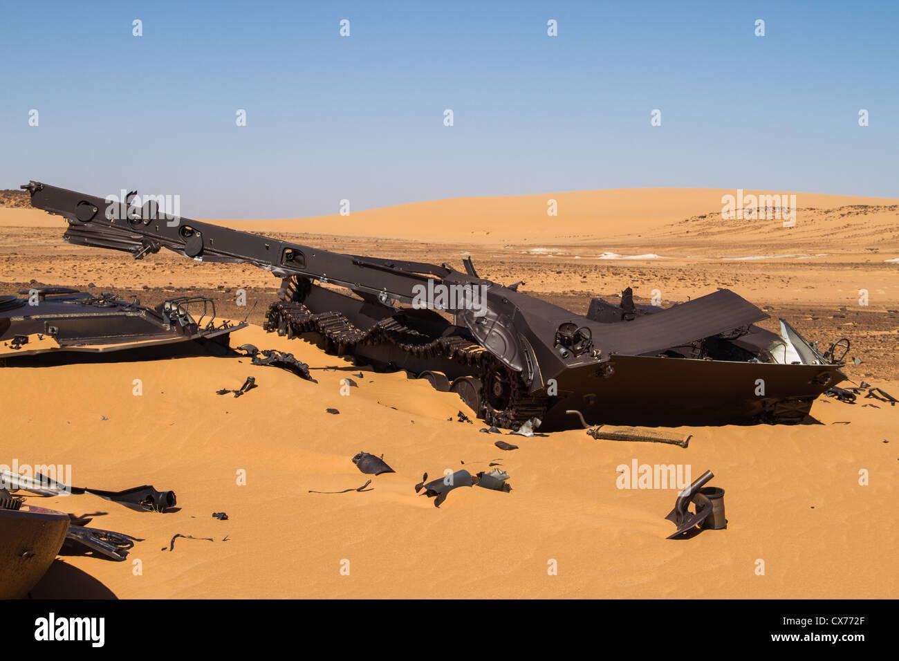 Libyan tank, remains - Stock Image