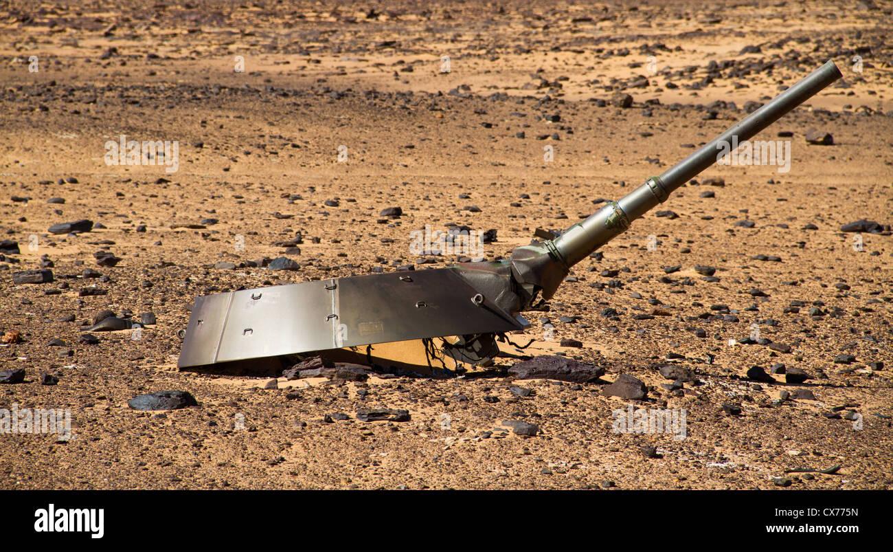 libyan tank, turret, remains - Stock Image