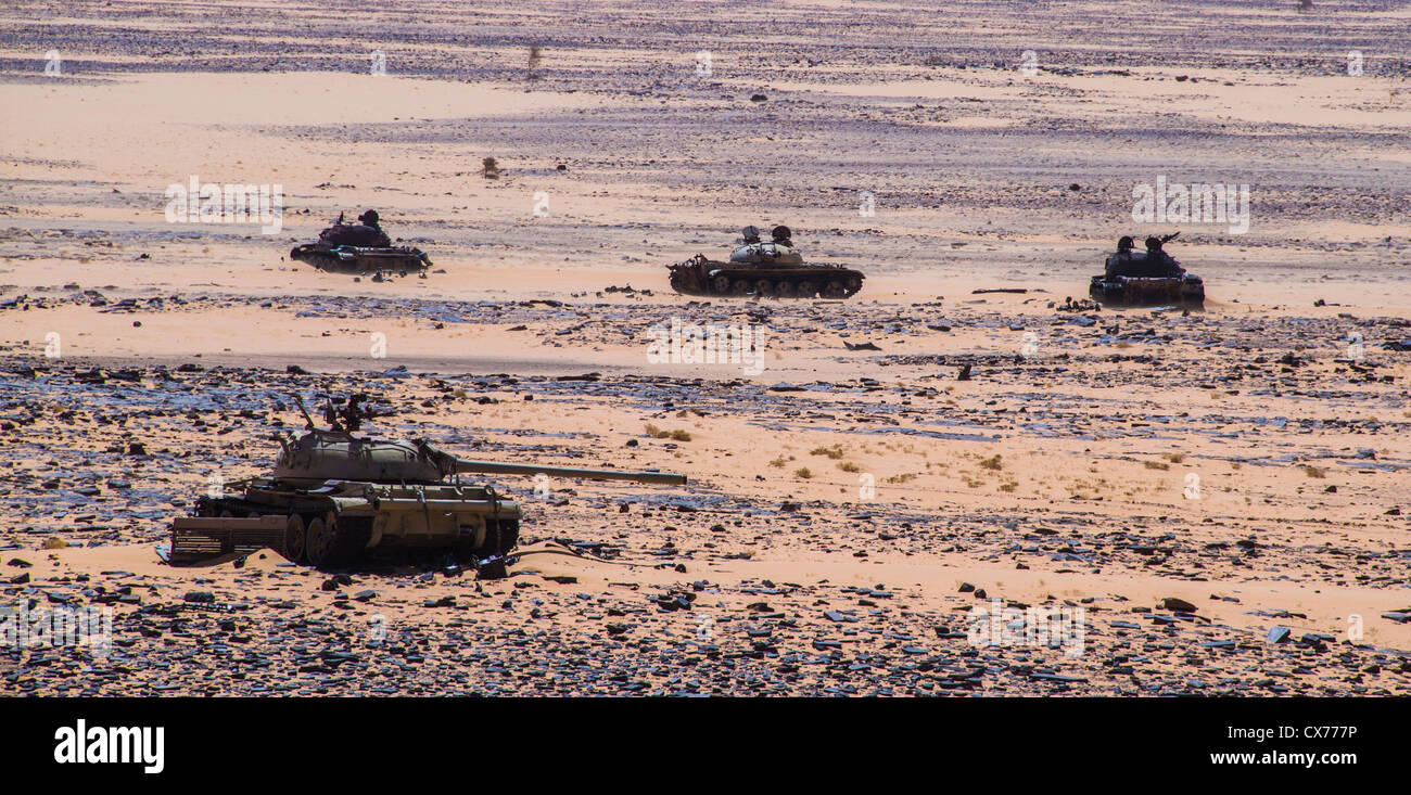 libyan tanks destroyed by Chad in Libya-Chad war 1980s - Stock Image