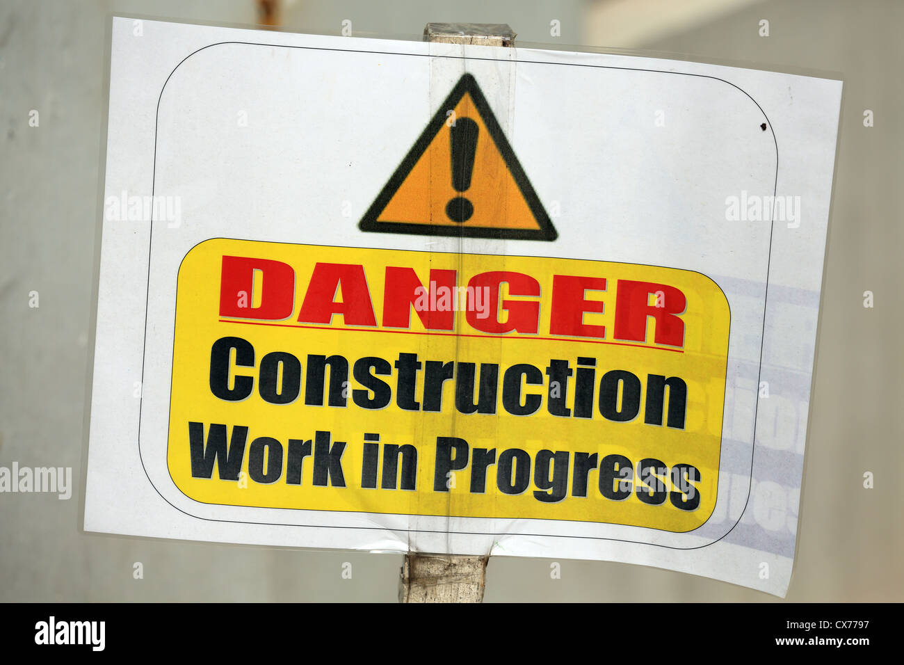 Danger construction work in progress sign - Stock Image