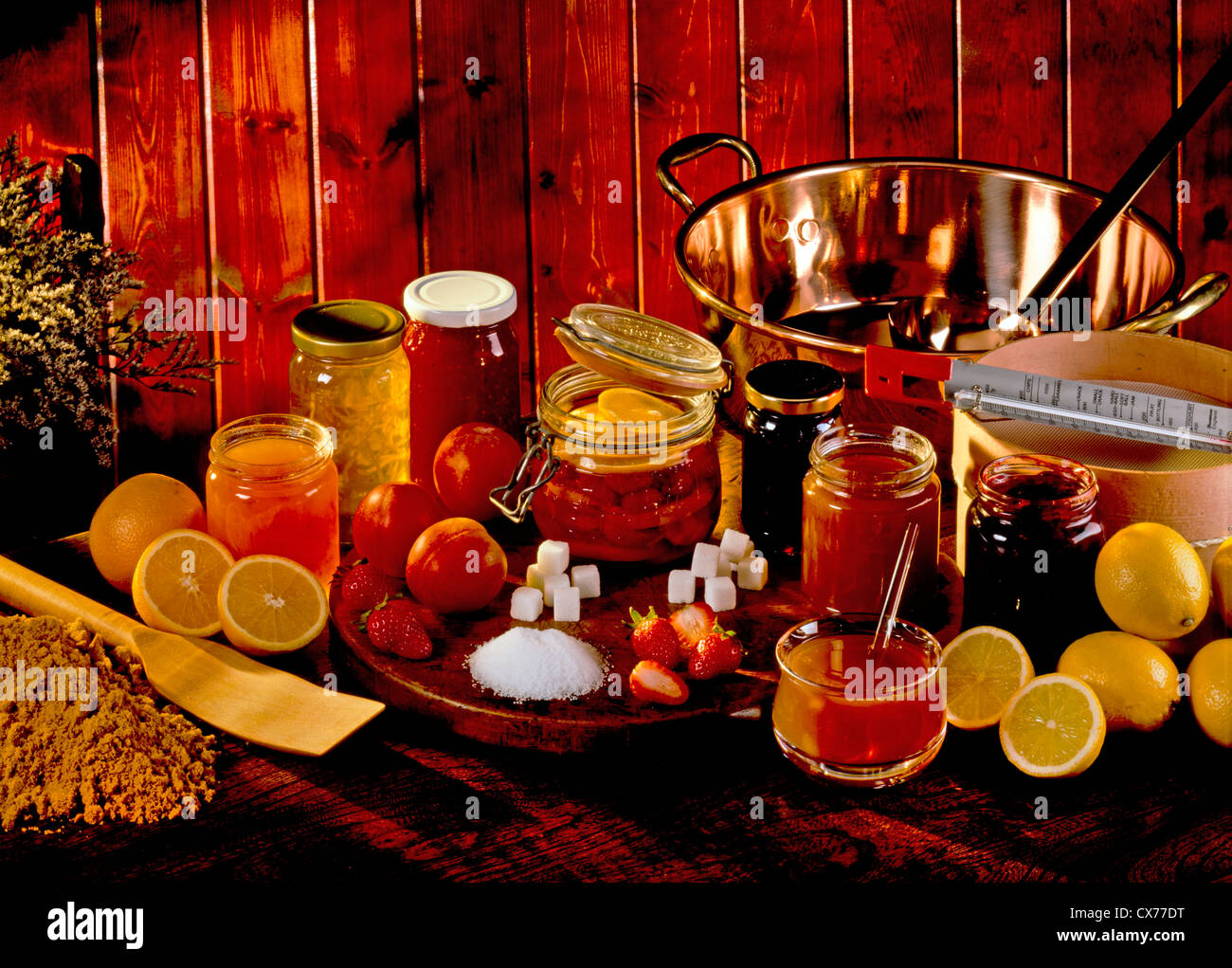 MAKING FRUIT PRESERVES AND CANNING - Stock Image