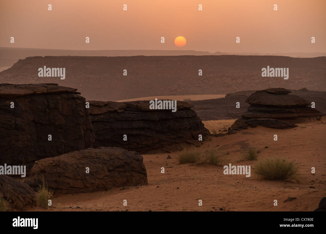 sunset ennedi mountains chad - Stock Image