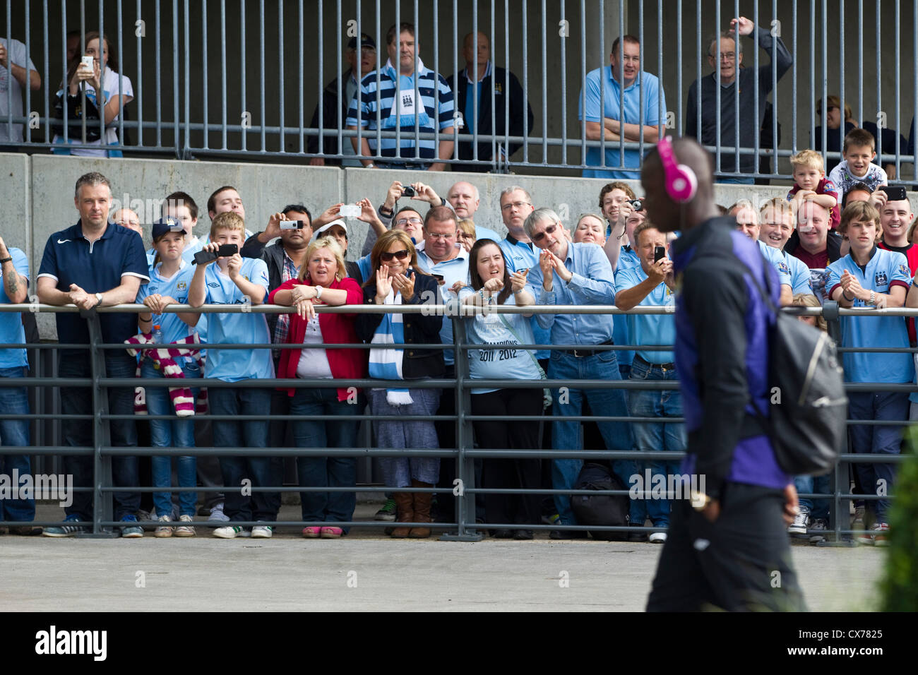 Mario Balotelli footballer arriving at the Etihad Stadium, Manchester City Football Club, Manchester, England, United - Stock Image